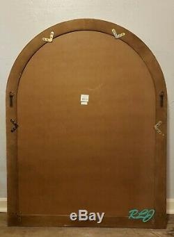 Large Distressed Rustic Vintage Farmhouse Arched Windowpane Wood Wall Mirror