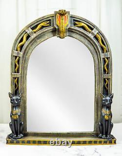 Large Egyptian Uraeus Cobra With 2 Scarab Bastet Cats Wall Decor Mirror Plaque