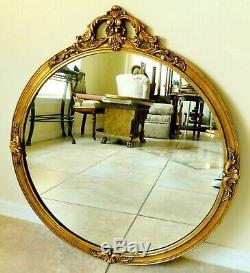 Large Elegant Antique/Vtg 29 Gold Gilt Ornate Carved Wood Round Wall Mirror
