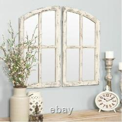 Large Farmhouse Wall Mirror Rustic Distressed Wood Arched Window Frame Vanity