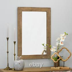 Large Farmhouse Wall Mirror Solid Wood Frame Bathroom Vanity Accent Decor Brown