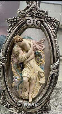 Large French Rococo Style Gold Wall Mirror with Bisque Figural Lovers Plaques VT
