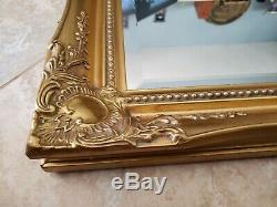 Large French style Gold Solid Wood 30x26 Beveled Framed Decorative Wall Mirror