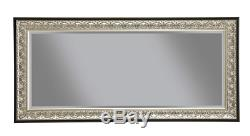Large Full Length Floor Mirror Antique Silver Black Ornate Carved Leaning Wall