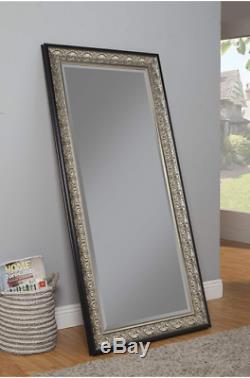 Large Full Length Floor Mirror Antique Silver Black Ornate
