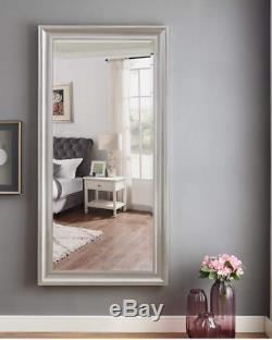 Large Full Length Floor Mirror Leaning Wall Lounge Silver Beaded Ornate Frame
