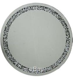 Large Gatsby Silver Round Wall Mirror Diamond Crystals Edging 70cm Diameter
