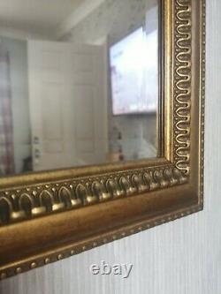 Large Gold Coloured Antique Style Bevelled Edge Wall Hanging Mirror 88cm X 62cm