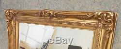Large Gold Ornate Solid Wood 32x44 Rectangle Beveled Framed Wall Mirror