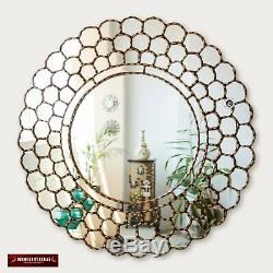 Large Gold Round Wall Mirror 31.5 from Peru, Gold leaf wood framed mirror Wall