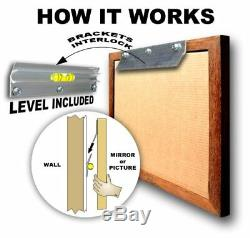 Large Gold Solid Wood 24x28 Rectangle Beveled Framed Wall Mirror