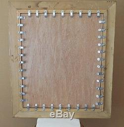 Large Gold Solid Wood 26x30 Rectangle Beveled Framed Wall Mirror