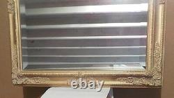 Large Gold Solid Wood 28x32 Rectangle Beveled Framed Wall Mirror