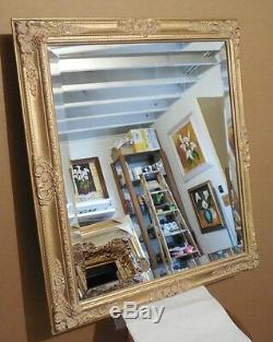 Large Gold Solid Wood 29x35 Rectangle Beveled Framed Wall Mirror