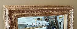 Large Gold Solid Wood 34x46 Rectangle Beveled Framed Wall Mirror