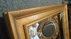 Large Gold Solid Wood 38x48 Rectangle Beveled Framed Wall Mirror