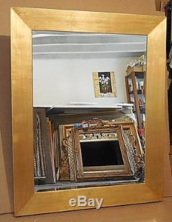 Large Gold Solid Wood 40x50 Rectangle Beveled Framed Wall Mirror