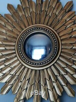 Large Gold Vintage Retro Sunburst Laura Ashley Wooden Mirror Wall One of a Kind
