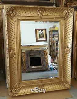 Large Gold Wood/Resin 40x52 Religious Rectangle Beveled Framed Wall Mirror
