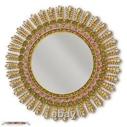 Large Green Sunburst Round Mirror Handpainted Glass Wood Mirror Wall from Peru