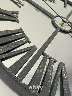Large Grey Metal Distressed Mirrored Wall Clock glamour vintage home decor