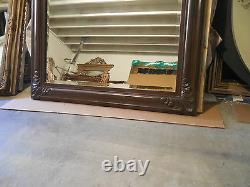 Large Hand Carved Solid Wood 38x50 Rectangle Beveled Framed Wall Mirror