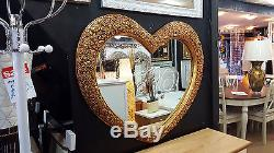 Large Heart Shape Wall Mirror Ornate French Engrved Roses 110X90cm 43x35 Gold