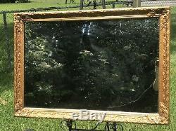 Large Heavy Antique Vintage Ornate Gold Wood Mirror Mantel Wall Bath Nursery