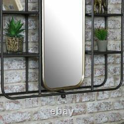 Large Industrial Mirrored Wall Shelving Unit bathroom shelf retro urban rustic