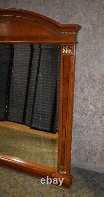 Large Italian Biedermeier Style Shaped Inlaid Wood Wall Mirror withBrass Ormolu
