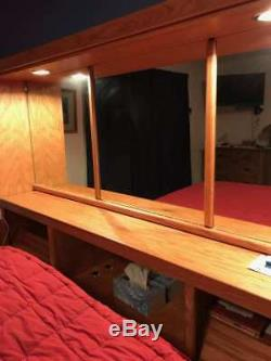 Large King Bed Oak Mirrored Headboard Wall Unit With Shelves & Lights 3 Pieces