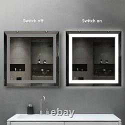 Large LED Bathroom Wall Mirror Illuminated Light Makeup Vanity Mirror Anti-Fog