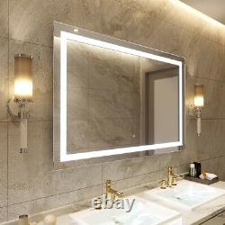 Large LED Light Bathroom Mirror Wall Mount Dimmable Anti-Fog Memory Touch Button