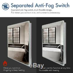 Large LED Lighted Anti-Fog Wall Mounted Bathroom Mirror Backlit Vanity Dimmable
