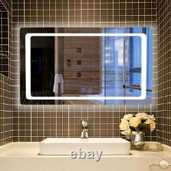 Large LED Lighted Bathroom Mirror Horizontal Wall Mounted Vanity Mirror Defogger