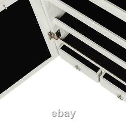 Large LED Wall Mount Beauty Mirror Armoire Jewelry Lockable Cabinet Storage Box