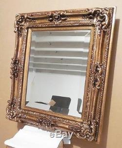 Large Louis XV Wood/Resin 25x29 Rectangle Beveled Framed Wall Mirror
