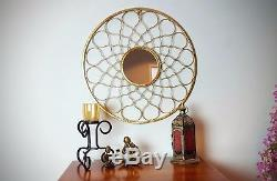 Large METAL Round 3D Frame Wall Feature Mirror Gold, Sun, Art Deco, Modern 63cm