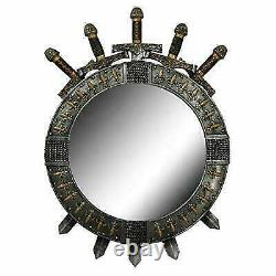 Large Medieval Knight Throne Of Swords Valyrian Steel Blades Round Wall Mirror