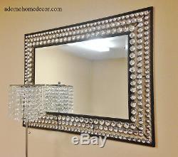 Large Metal Wall Crystal Jewel Mirror Rustic Modern Chic Decor Rectangle NEW