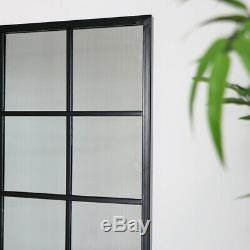 Large Metal Window Mirror vintage industrial modern sleek wall decor