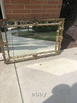 Large Mid Century 34 X 50 Rectangle Beveled Framed Wall Mirror