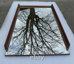 Large Minimalist Wooden Danish Vintage Mirror 1950 Modern Wall Silkeborg Teak