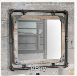 Large Mirror Farmhouse Pipe Wall Urban Industrial Bathroom Vanity Rustic Hall
