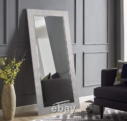 Large Mirror Full Length Floor Wall Leaner Silver Mosaic Bedroom Bathroom Lounge