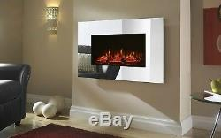 Large Mirrored Chrome LED Wall Mounted Electric Fireplace With Flame Effect 1.8K