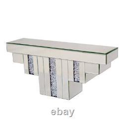 Large Mirrored Diamante Jewel Crystal Art Deco Floating Mirror Wall Shelf Shelve