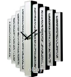Large Mirrored Glass Silver Crushed Diamond Shaped Crystal Wall Clock 50 x 50cm
