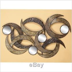 Large Modern Contemporary Style Sculpture Metal Mirror Wall Panel Art Home Decor