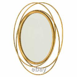 Large Modern Round Wall Mirror Home Office Decor Rustic Gold Finish Metal Frame